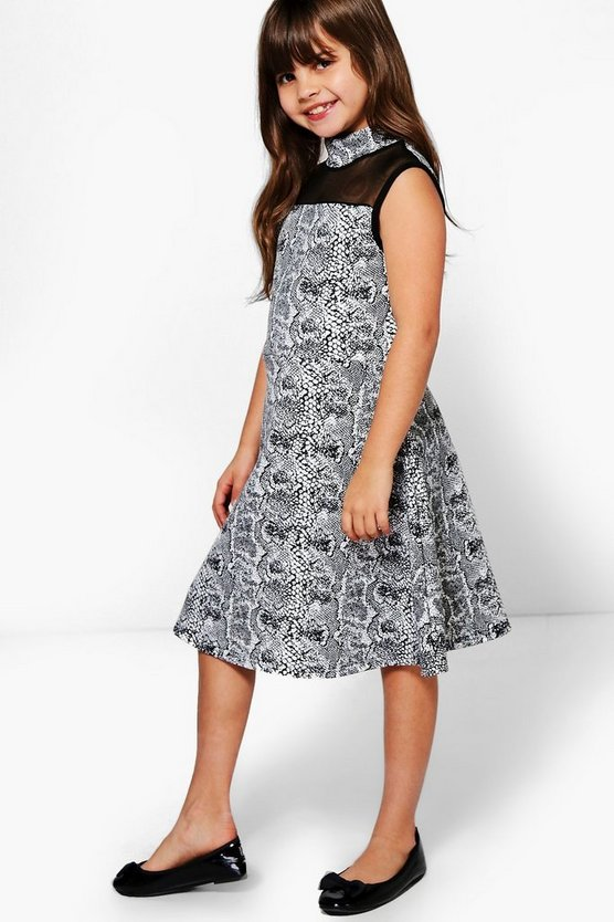 Girls Snake Print Mesh Insert Skater Dress