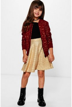 Girls Gold Star Print Bomber Jacket