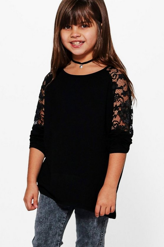 Girls Lace Insert Oversized Top