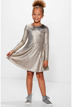 Girls Metallic Knitted Swing Dress