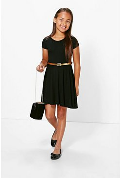 Girls Lace Insert Capped Sleeve Skater Dress