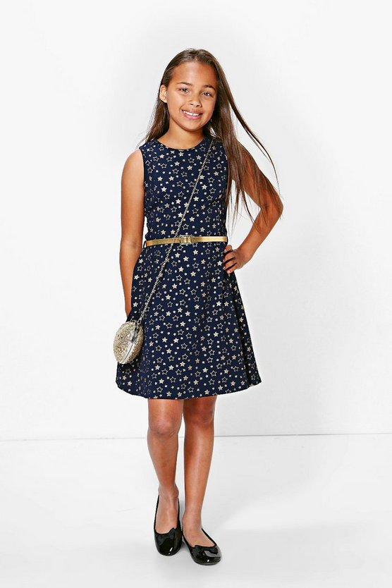 Girls Gold Foil Print Party Dress
