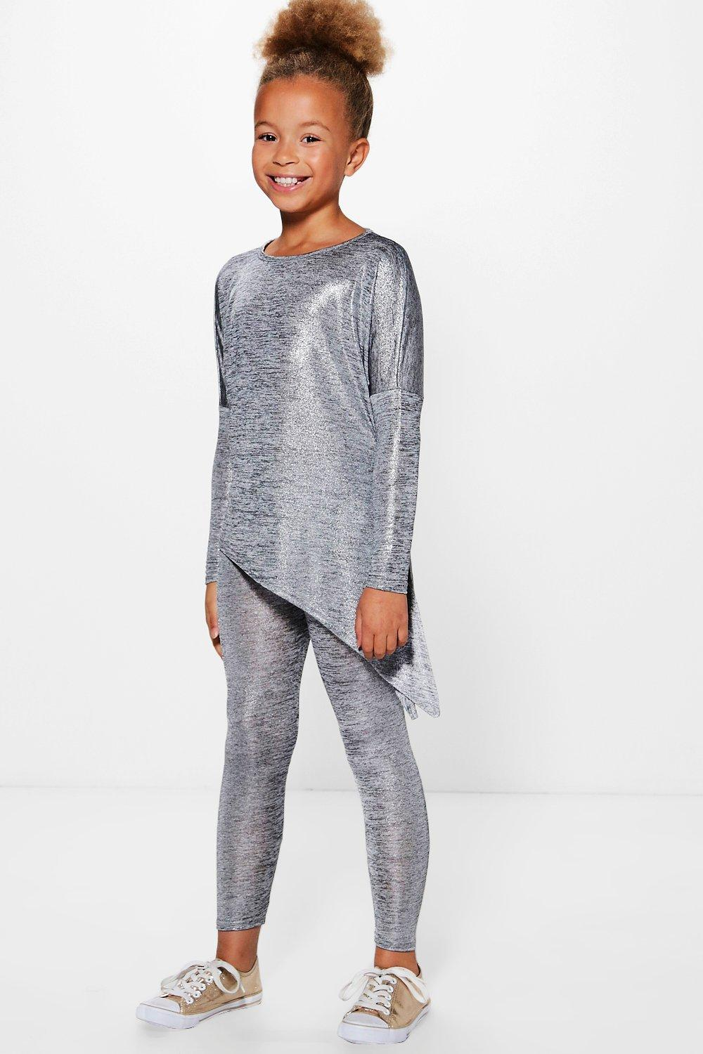 Girls Metallic Asymetric Top & Legging Set