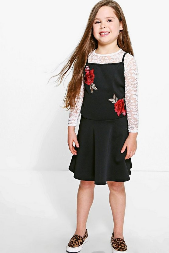 Girls Floral Dress & Lace Top Set