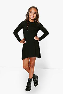 Girls High Neck Jersey Dress