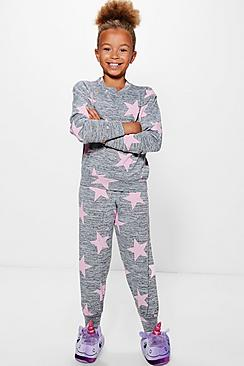 Girls Knitted Star Print Tracksuit