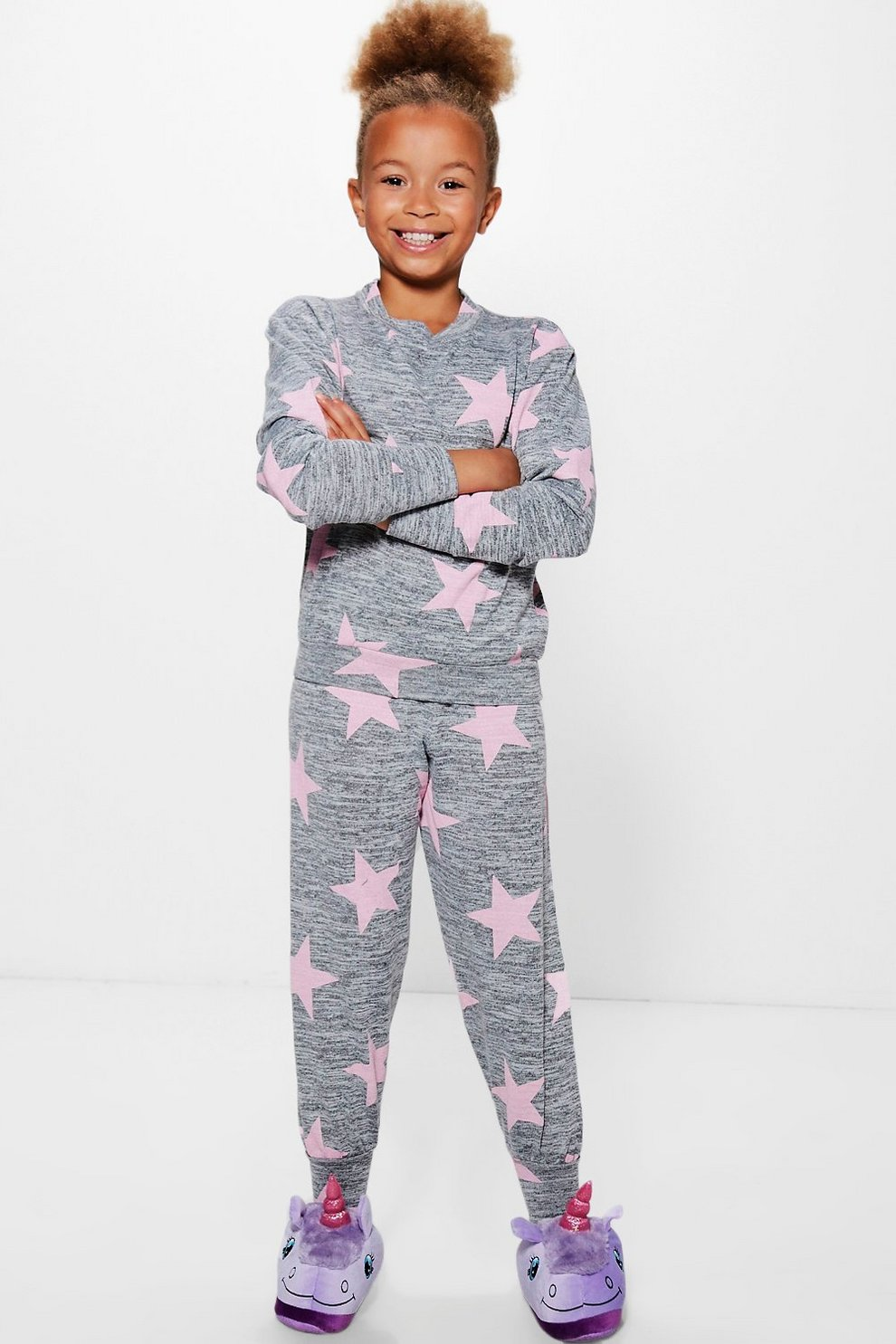 Girls Knitted Star Print Tracksuit   Boohoo