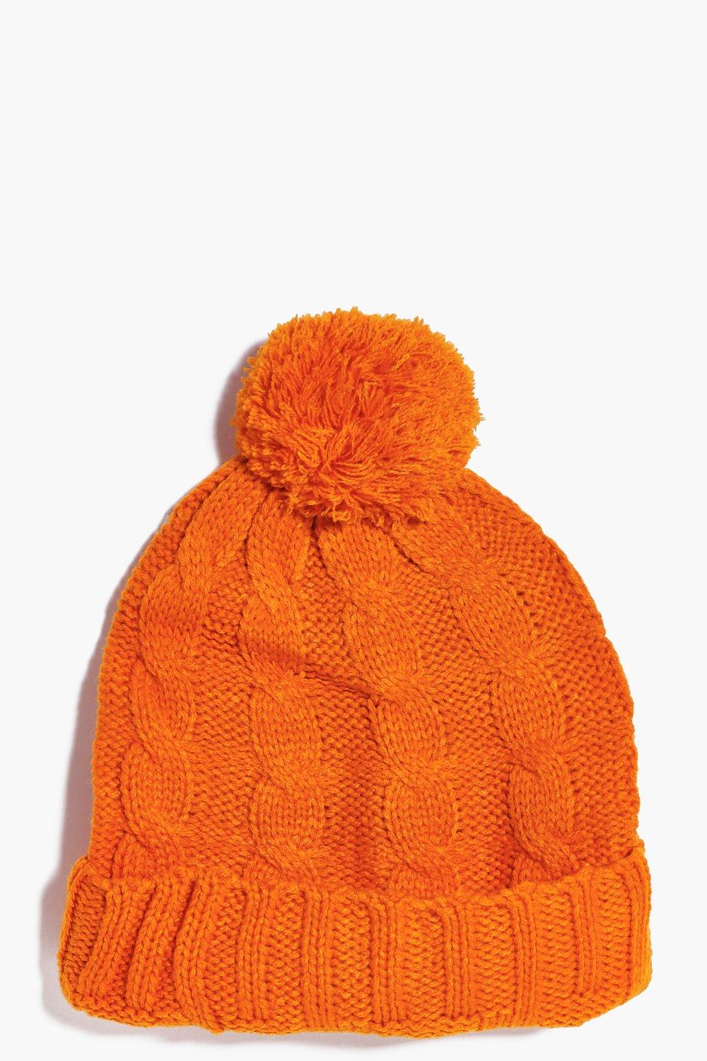 Pom Pom Hat - orange - Girls Pom Pom Hat - orange