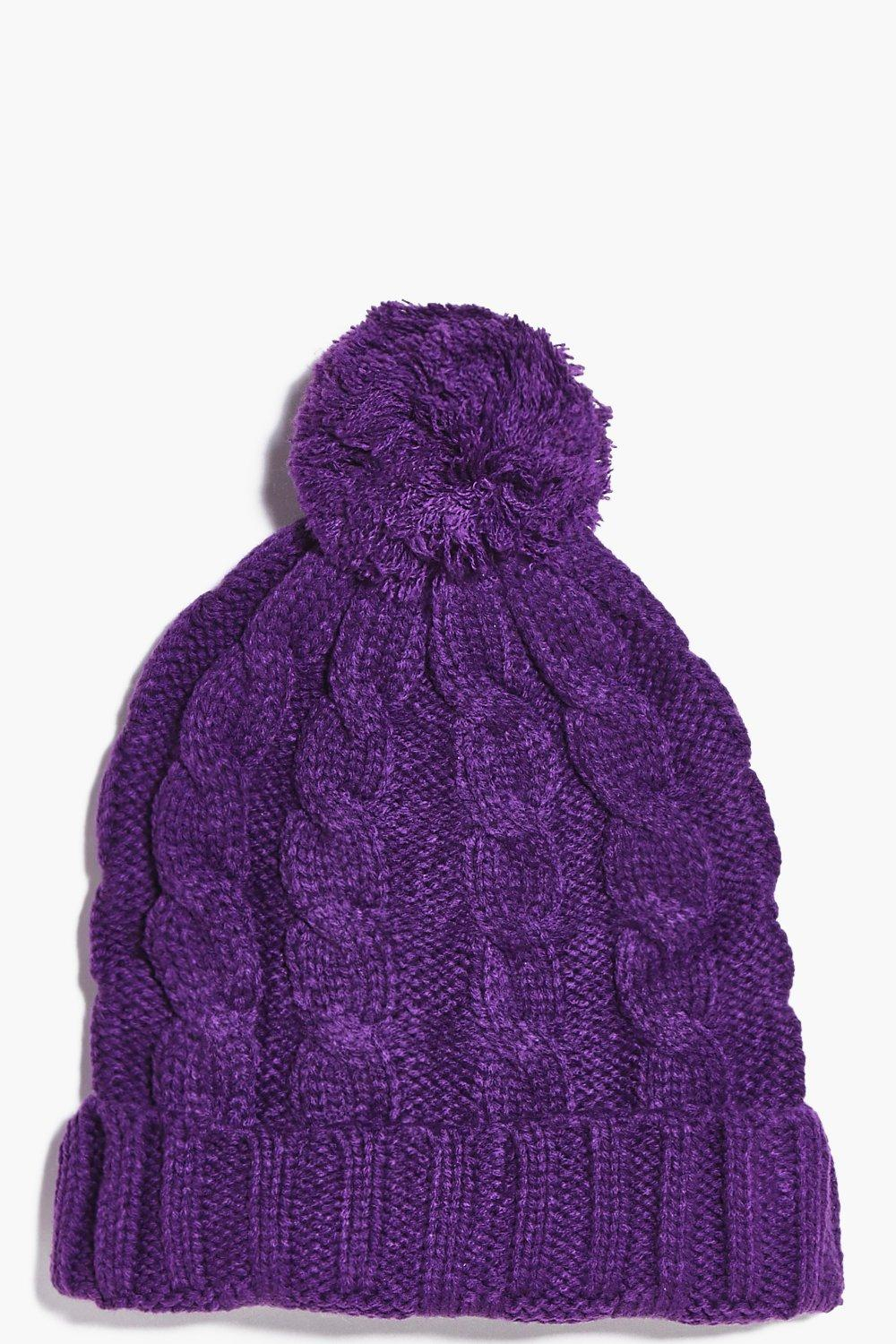 Pom Pom Hat - purple - Girls Pom Pom Hat - purple