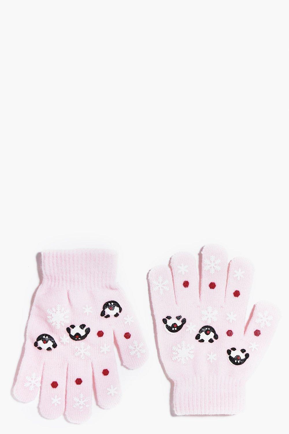 Girls Printed Penguin Gloves