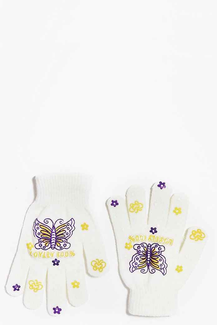 Girls Printed Butterfly Gloves