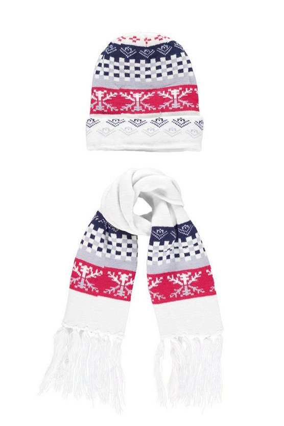 Boys Red Fairisle Hat & Scarf Set
