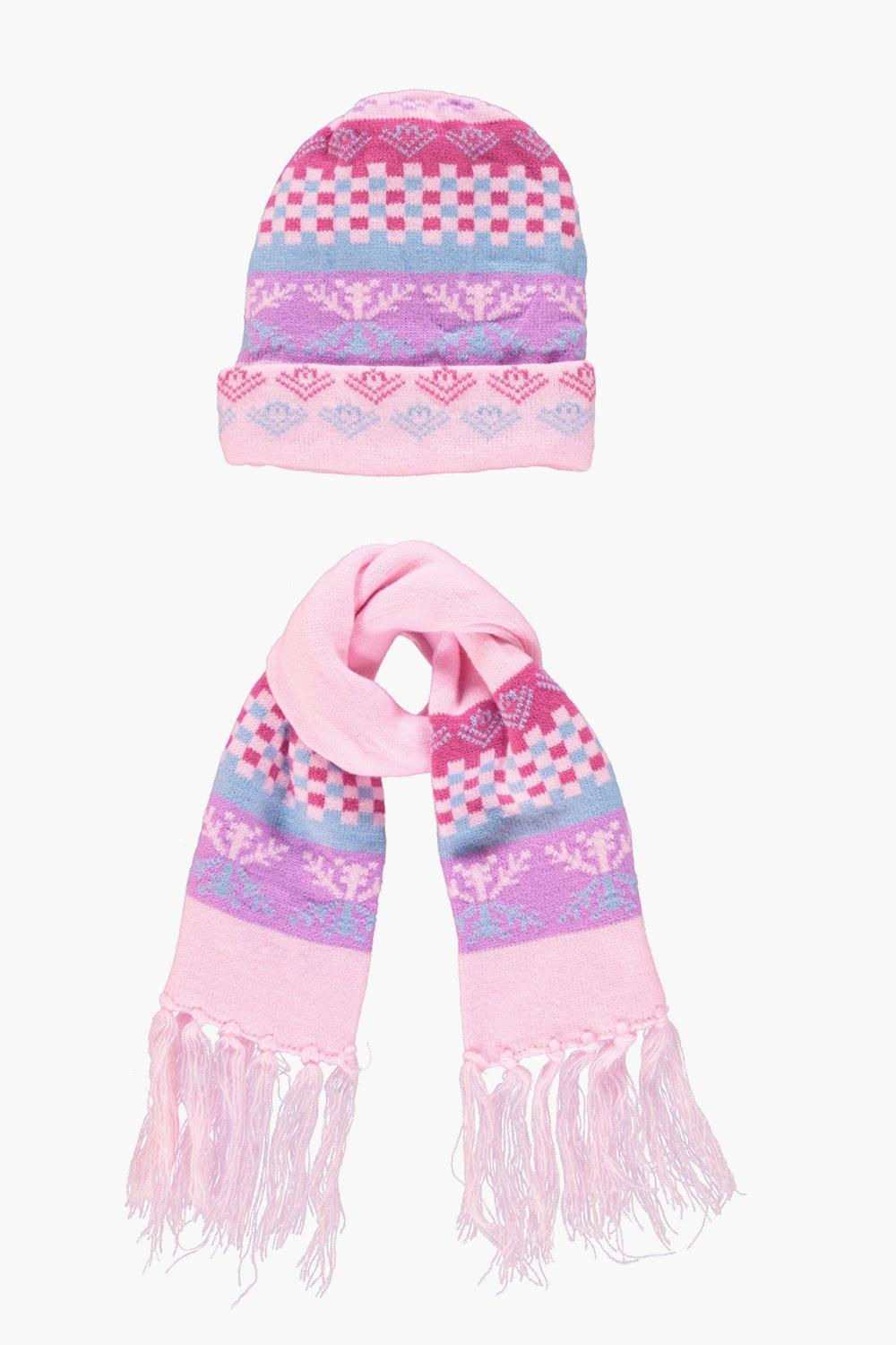 Girls Pink Fairisle Hat & Scarf Set