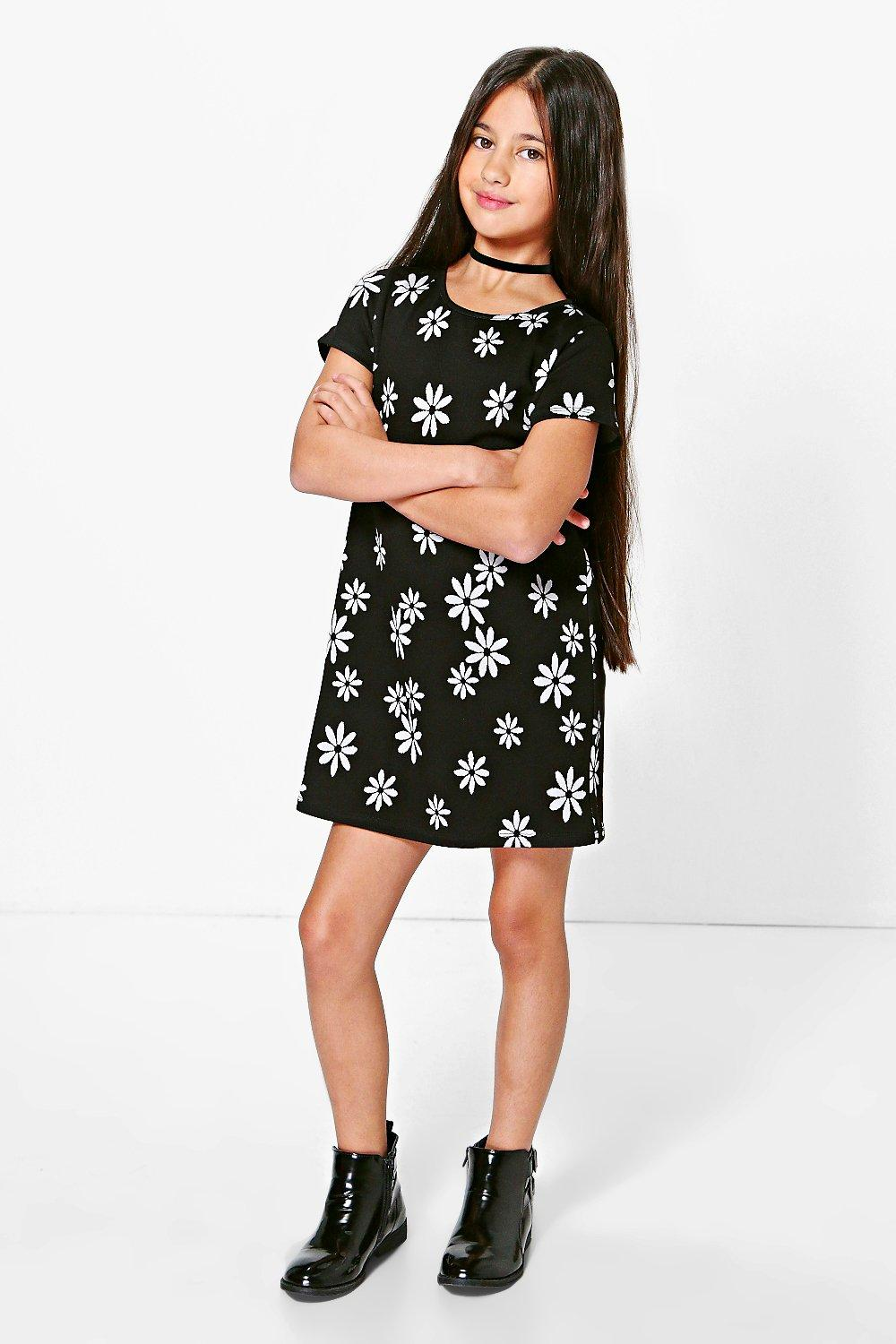 Girls Floral Print Capped Sleeve Shift Dress