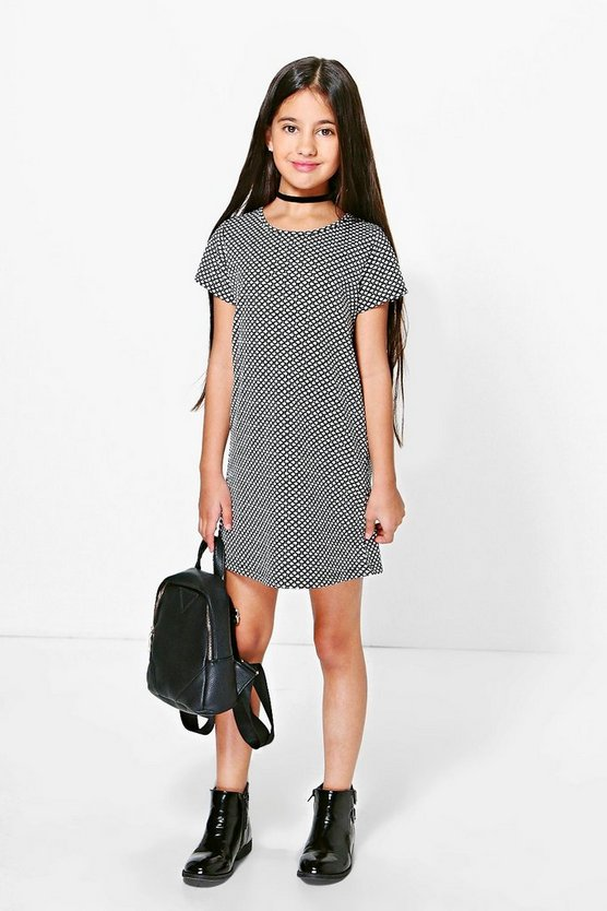 Girls Capped Sleeve Textured Split Shift Dress