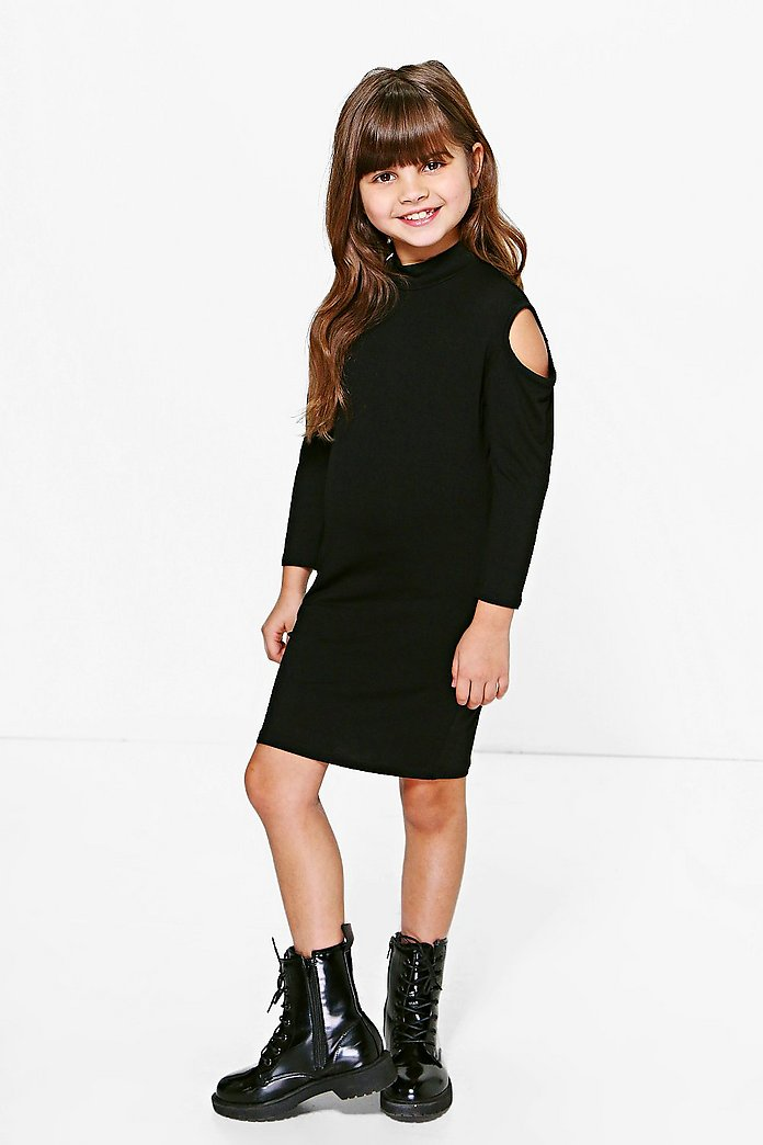 Girls Cold Shoulder Midi Dress