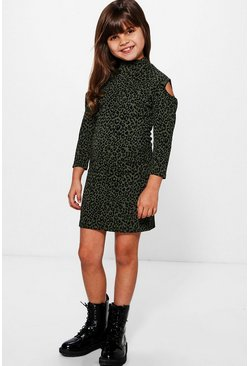 Girls Textured Leopard Print Cold Shoulder Dress
