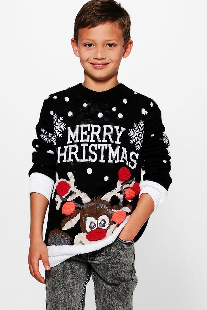 boys merry christmas jumper boohoo. Black Bedroom Furniture Sets. Home Design Ideas