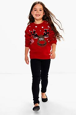 Girls Rudolph Christmas Jumper