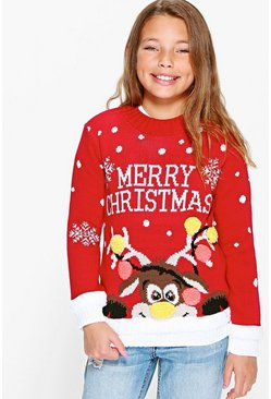 Girls Merry Christmas Jumper