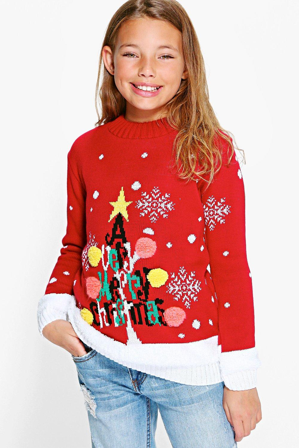Girls Christmas Tree Jumper
