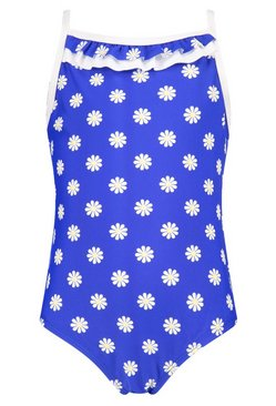 Girls Daisy Print Swimming Costume