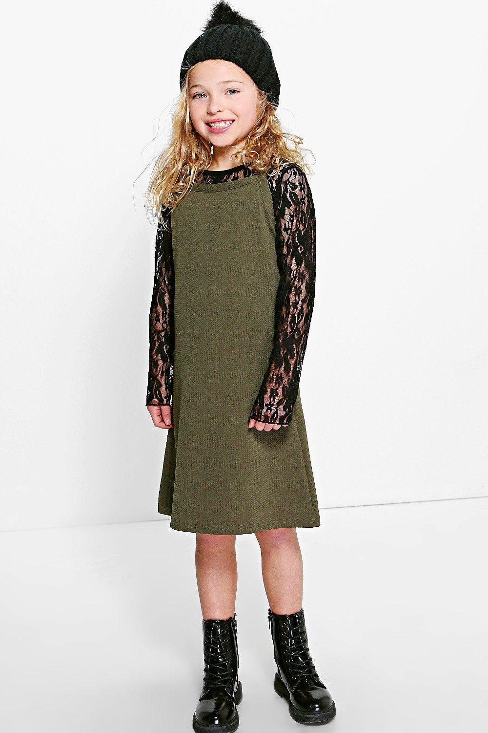 Girls Lace Top And Textured Dress Set