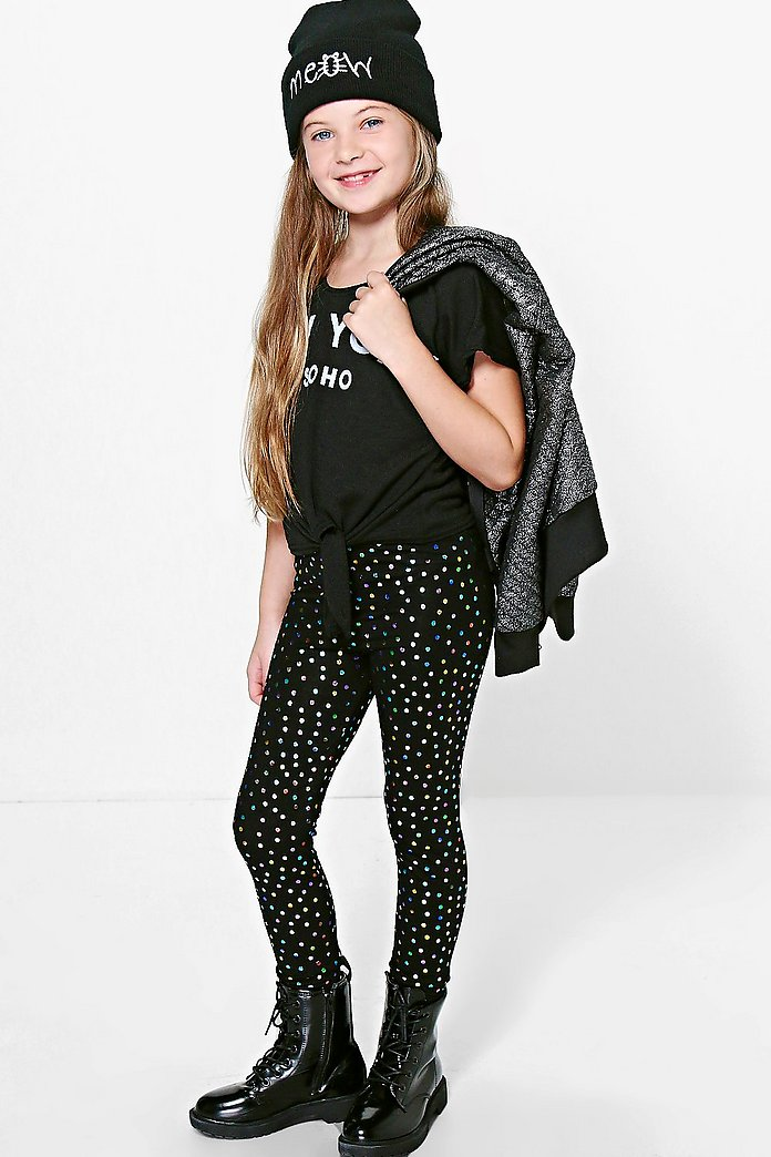 Girls Metallic Spot Leggings