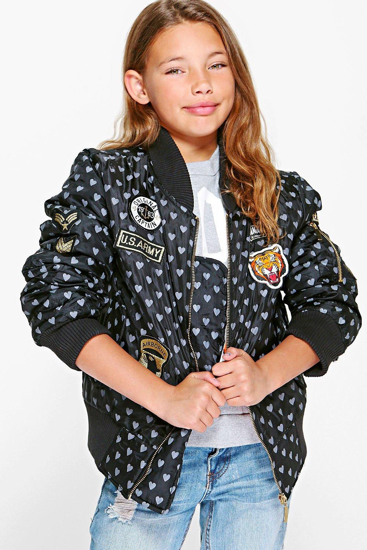 MA1 Heart Badged Bomber Jacket  black