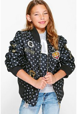 Girls MA1 Heart Badged Bomber Jacket