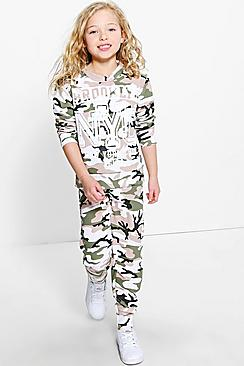 Girls Brooklyn Camo Print 2 Piece Tracksuit