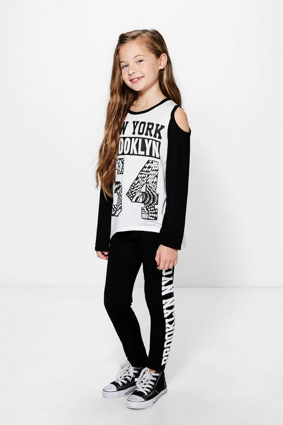 Girls Cold Shoulder Tee And Leggings Set