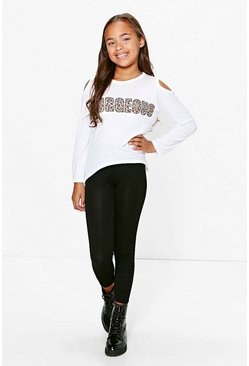 Girls Gorgeous Cold Shoulder Tee And Legging Set