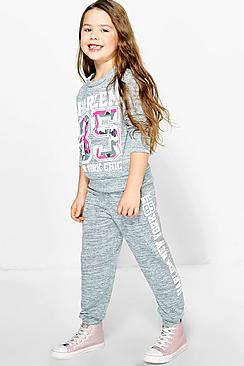 Girls Printed Knitted Tracksuit
