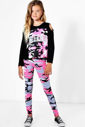 Girls Cold Shoulder Camo Print Tee And Legging Set