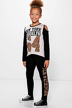 Girls Leopard Brooklyn Tee And Legging Set