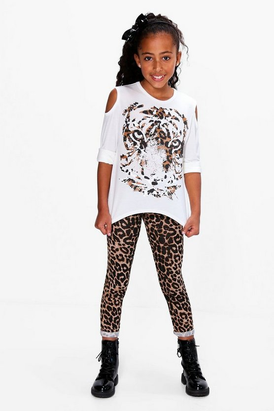 Girls Tiger Print Tee And Leggings