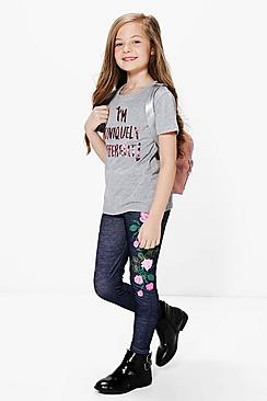 Girls Embroidered Print Denim Look Legging
