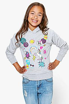 Girls Badged Hoodie