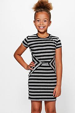Girls Stripe Capped Sleeve Dress