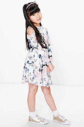 Girls Printed 3/4 Sleeve Belted Skater Dress