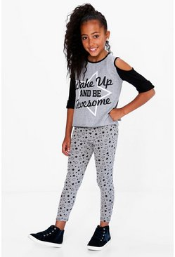 Girls Wake Up Star Print Tee And Legging Set
