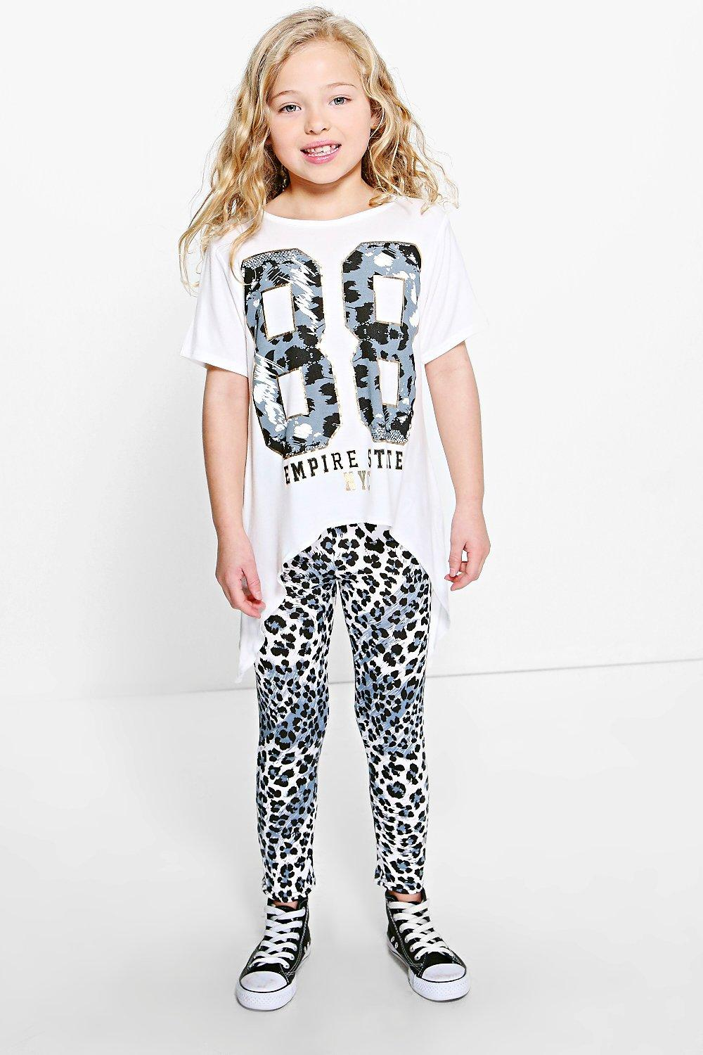 Girls Empire Dip Side Tee And Leggings Set