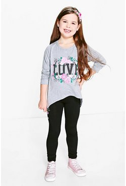 Girls Embroidered Print Jumper And Legging Set