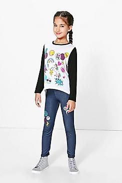 Girls Badged Tee And Legging Set