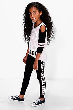 Girls Rebel Cold Shoulder Tee And Leggings Set