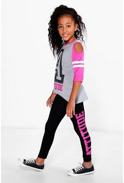 Girls Attitude Cold Shoulder Tee and Leggings Set