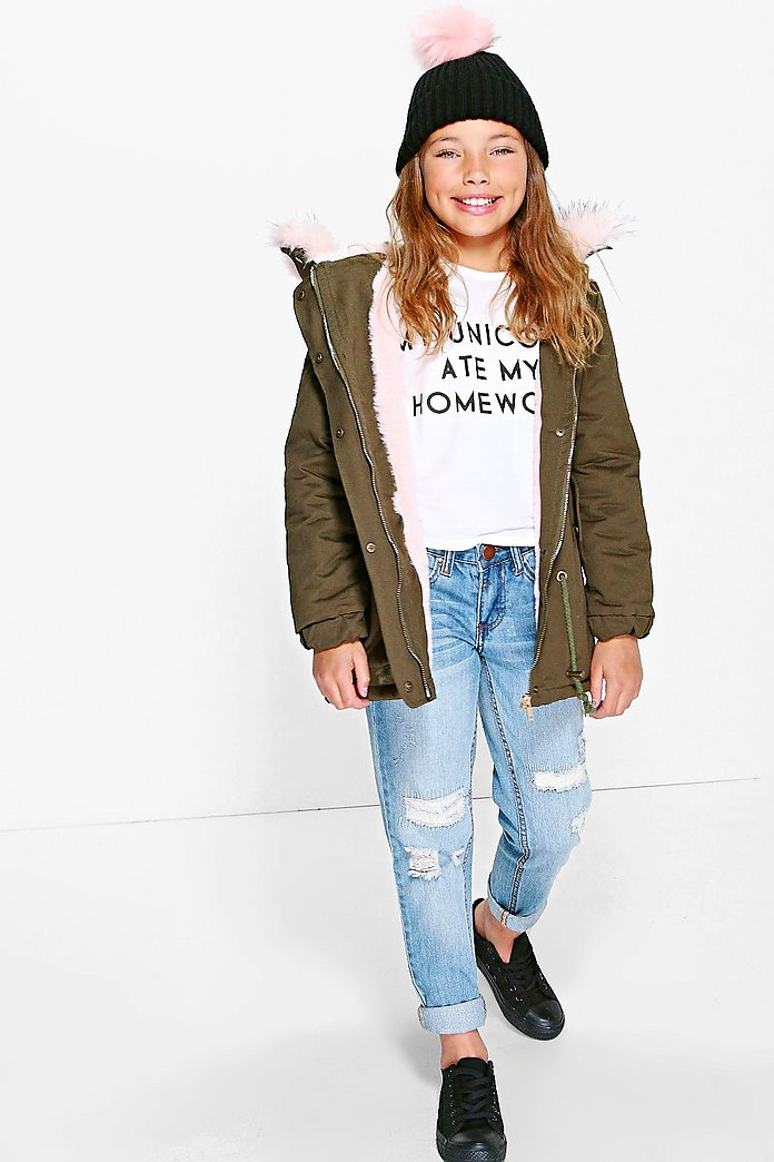 Girls Faux Fur Hooded Parka