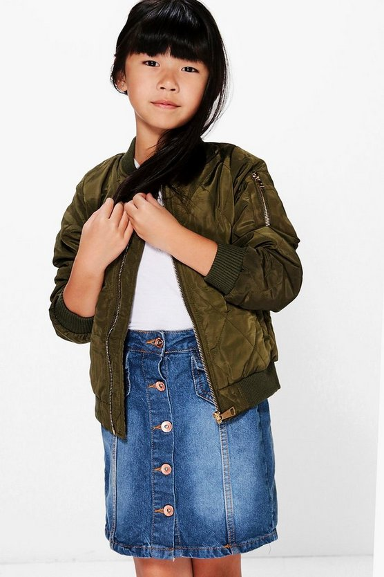 Girls Quilted Padded Bomber Jacket