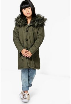 Girls Full Faux Fur Padded Hooded Parka